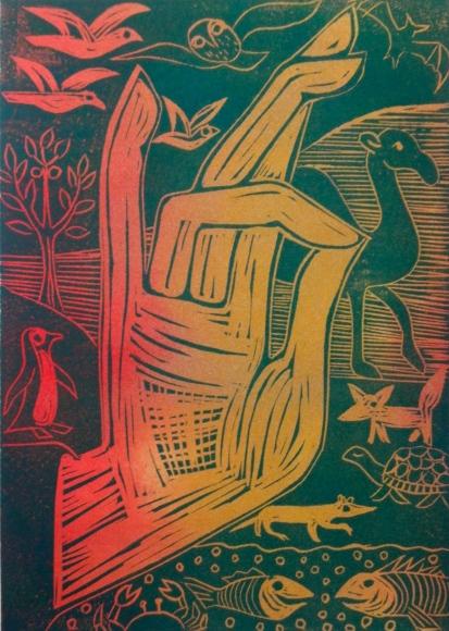 Multi-coloured lino print