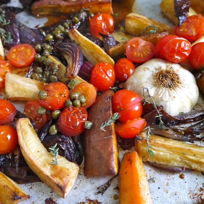 Roast tomatoes and root vegetables