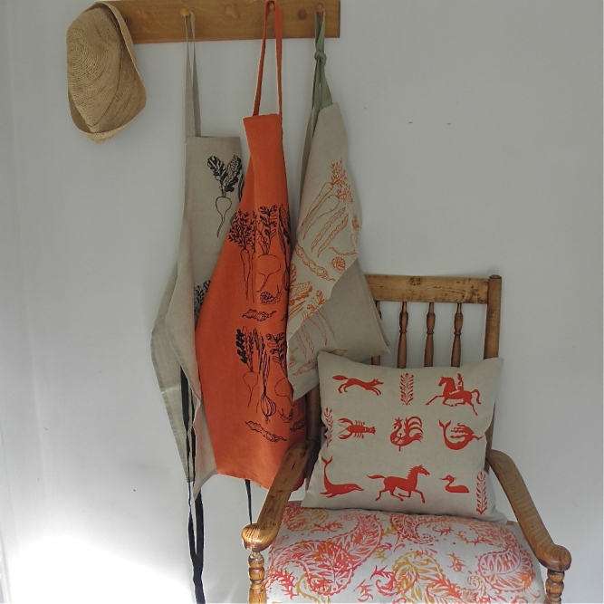 Screen print vegetable apron
